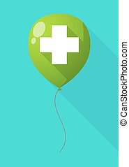 Long shadow balloon with a pharmacy sign - Illustration of a...