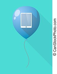 Long shadow balloon with a tablet computer