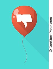 Long shadow balloon with a thumb down hand