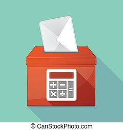 Long shadow ballot box with a calculator