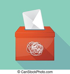Long shadow ballot box with a doodle