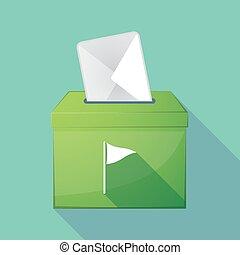 Long shadow ballot box with a golf flag