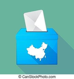 Long shadow ballot box with a map of China