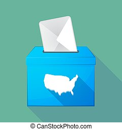 Long shadow ballot box with  a map of the USA