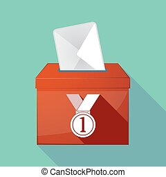 Long shadow ballot box with a medal