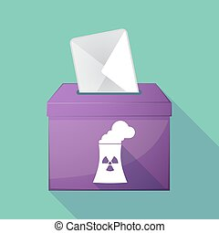 Long shadow ballot box with a nuclear power station