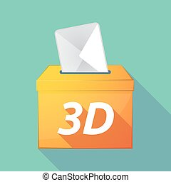 Long shadow ballot box with    the text 3D