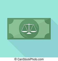 Long shadow banknote icon with a justice weight scale sign