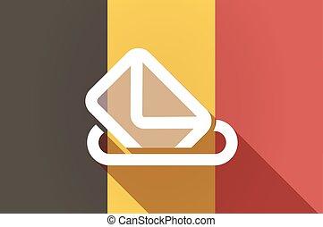 Long shadow Belgium flag with a ballot box
