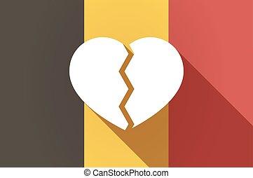 Long shadow Belgium flag with a broken heart