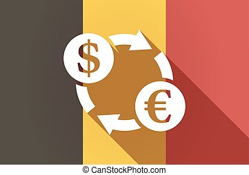 Long shadow Belgium flag with a dollar euro exchange sign