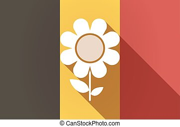Long shadow Belgium flag with a flower
