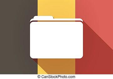 Long shadow Belgium flag with a folder