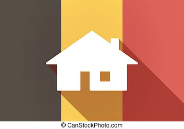 Long shadow Belgium flag with a house