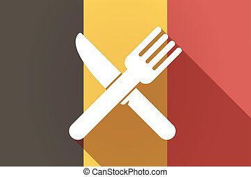 Long shadow Belgium flag with a knife and a fork