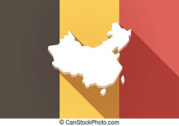 Long shadow Belgium flag with a map of China