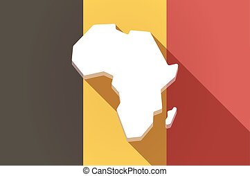 Long shadow Belgium flag with  a map of the african continent