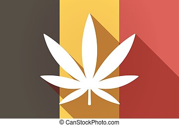 Long shadow Belgium flag with a marijuana leaf -...