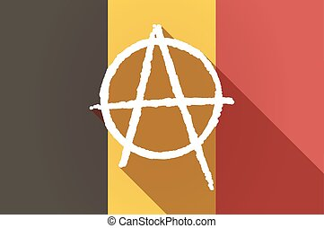 Illustration of a long shadow Belgium flag with an anarchy sign