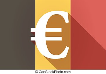 Long shadow Belgium flag with an euro sign