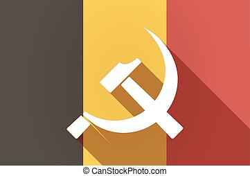 Illustration of a long shadow Belgium flag with the communist symbol