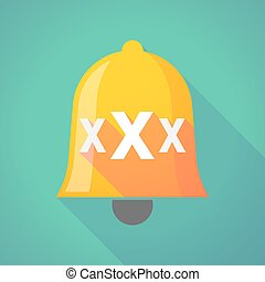 Long shadow bell icon with a XXX letter icon - Illustration...