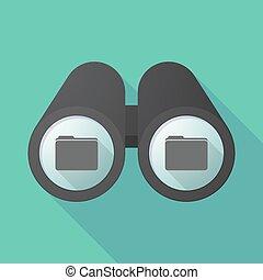 Long shadow binoculars with a folder