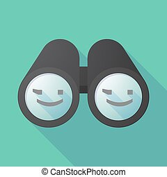 Long shadow binoculars with  a wink text face emoticon