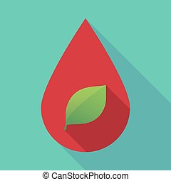 Long shadow blood drop with a green  leaf