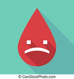 Long shadow blood drop with a sad text face