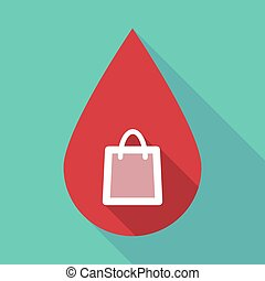 Long shadow blood drop with a shopping bag