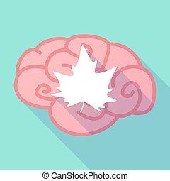 Long shadow brain with an autumn leaf tree