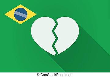 Long shadow Brazil flag with a broken heart
