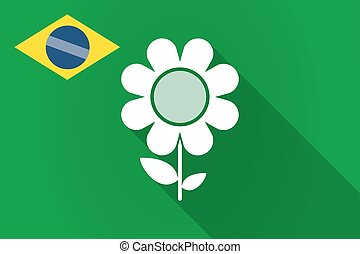 Long shadow Brazil flag with a flower