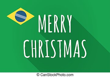 Long shadow Brazil flag with    the text MERRY CHRISTMAS