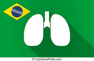 Long shadow Brazil map with a healthy human lung icon