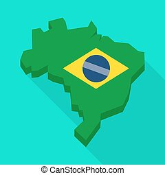 Long shadow Brazil map with the national flag