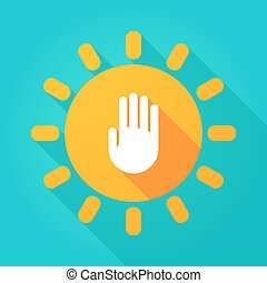 Long shadow bright sun icon with a hand