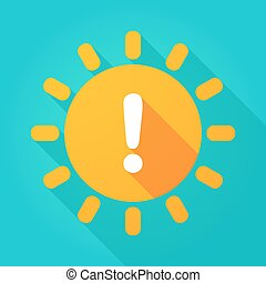 Long shadow bright sun icon with an exclamarion sign
