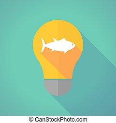 Long shadow bulb with  a tuna fish