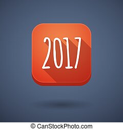 Long shadow button with a 2017 year number icon