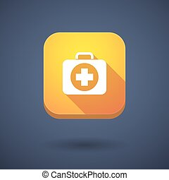 Long shadow button with a first aid kit icon