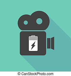 Long shadow camera with a battery