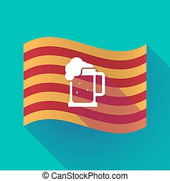 Long shadow Catalonia flag with a beer jar icon