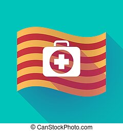Long shadow Catalonia flag with a first aid kit icon