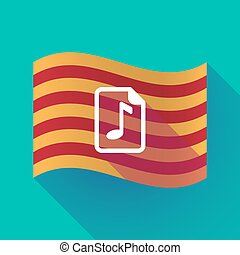 Long shadow Catalonia flag with a music score icon