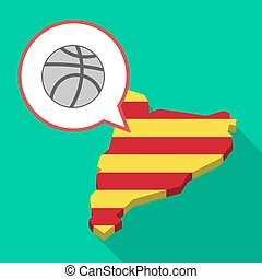 Long shadow Catalonia map with  a basketball ball