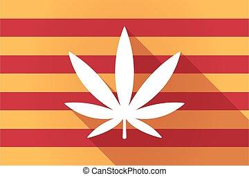 Long shadow Catalonia vector flag with a marijuana leaf - ...