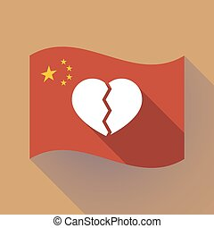 Long shadow China flag with a broken heart