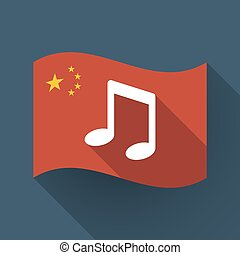 Long shadow China flag with a note music